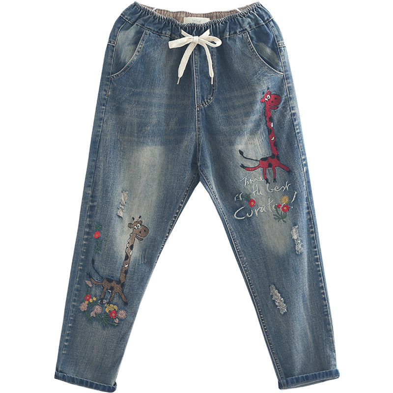 2019 Spring New Style Retro Literature And Art Animal Embroidered Lace-up Washing Faded Capri Jeans Women's