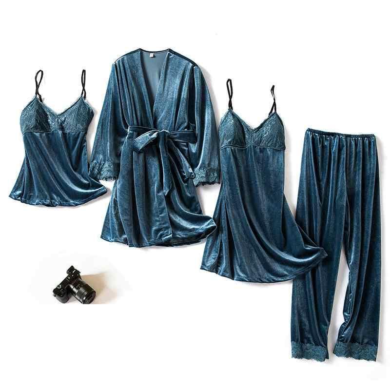 グリーン 4 個 Twinset ローブスーツホームウェア女性のセクシーなパジャマ寝間着 & ローブセットネグリジェホーム服着物ドレスでウエストバンド