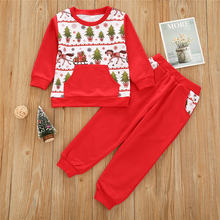 Детский костюм; Комплект одежды для мальчиков и девочек Рождественская