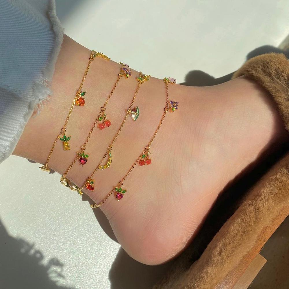 2020 New Cute Fashion Girl's Crystal anklet bracelet Jewelry Summer Must Have Peach Grape Strawberry Fruits Anklets For Women