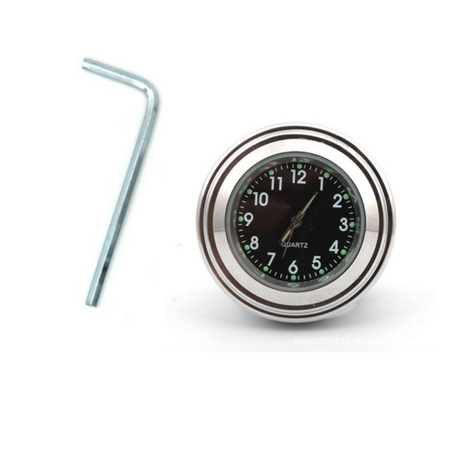 """Universal Waterproof 7/8 """"Motorcycle Handlebar Black/White Dial Clock Thermometer Motorcycles Accessories 3"""