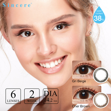 Contact-Lenses 6lenses/pair Diopters Sincere-Vision Colored Brown Brand 2week Cher Makeup