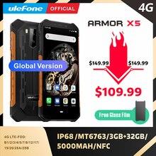 Ulefone Armor X5 MT6763 Восьмиядерный ip68 прочный водонепроницаемый смартфон Android 9,0 сотовый телефон 3 ГБ 32 ГБ NFC 4G LTE мобильный телефон