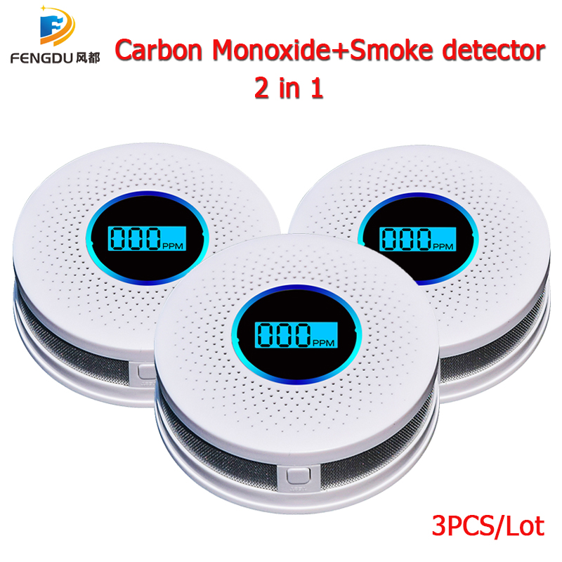 3PCS 2 In 1 LCD Display Carbon Monoxide & Smoke Combo Detector Battery Operated CO Alarm With LED Light Flashing Sound Warning