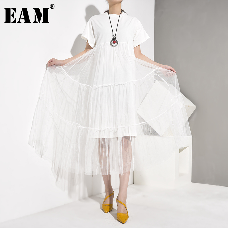 [EAM] Women White Irregular Split Joint Mesh Dress New Round Neck Short Sleeve Loose Fit Fashion Tide Spring Autumn 2020 3360.XL