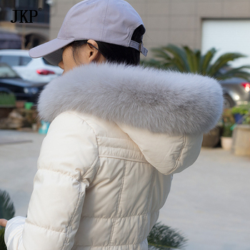 JKP New Real Fox Fur Collar for Women Winter Warm Scarf Coat Accessory Genuine Natural Fox Fur Shawl Scarves image