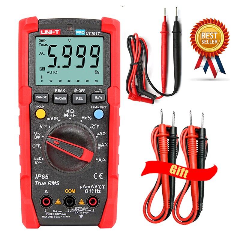 UNI-T UT191T UT191E тестер, цифровой мультиметр, профессиональное среднеквадратичное значение, автоматический диапазон DMM 20A амперметр 600V Count 6000 DC AC ...