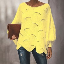 Hollow Out Lantern Sleeve  Sweaters Women Casual  Loose Knitwear Sweaters Femme O Neck Ruffle  Pullover