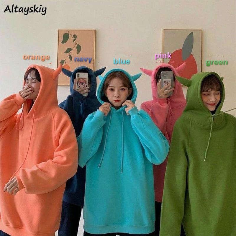 Hoodies Women Solid Thickening Velvet Hooded Cute Girls Simple Loose 2XL All-match Chic Korean Harajuku Womens Sweatshirt Casual