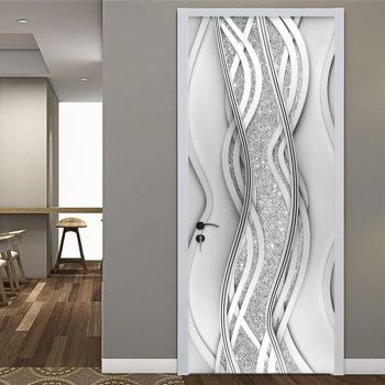 PVC Door Sticker Modern 3D Abstract Fashion Line Silver Pearl Wallpaper Living Room Art Door Poster Self-Adhesive Mural Stickers