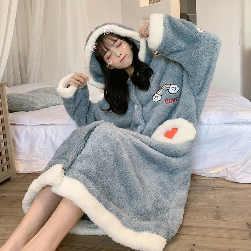 Tracksuit Pajamas Women's Autumn And Winter Thick Winter-Outer Wear Loose-Fit Korean-style Long Robe Fluffy Nightgown One-piece