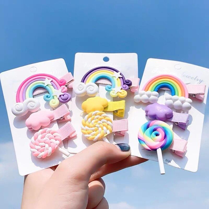 2020 3pc/set Rainbow Hairpins Cute Girl Cartoon Bobby Pin Hair Clips For Girls Children Headband Kids Hair Accessories Scrunchie