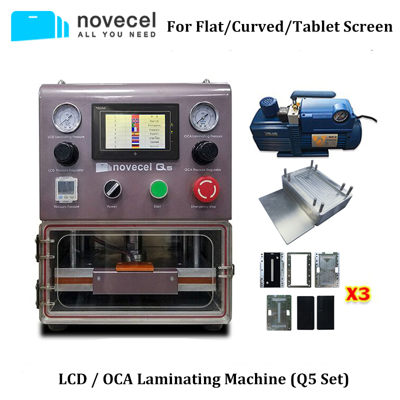 NOVECEL Q5 Newest Professional LCD Screen Laminating Machine for Mobile Phone Tablet Screen N Curved / Flat Screen Lamination