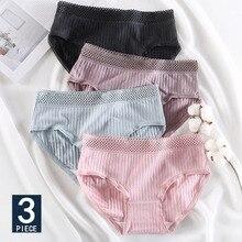 3PCS/lot Cotton Women Underwear Striple Panties For Girls Seamless Stretch Lingerie Mesh Waist Briefs Intimate Underpants Female