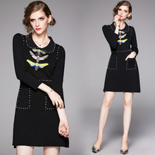 Banulin Women Elegant Office Dress Autumn Winter Bee Embroidery Beading Dresses Ladies Slim 3/4 Sleeve Knit Sweater