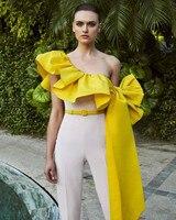 Yellow Muslim Evening Dresses Sheath One shoulder With Pants Dubai Saudi Arabia Long Prom Dress Gown Robe De Soiree