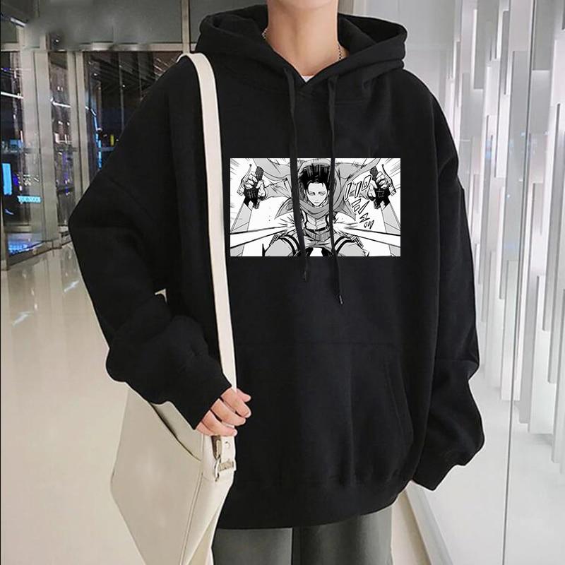 Толстовка мужская зимняя оверсайз с принтом из японского аниме «атака на Титанов»