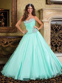 Vestido de debutante con cuentas turquesa Quinceañera princesa mascarada baile vestido de graduación sweetheart Madre de la novia vestidos