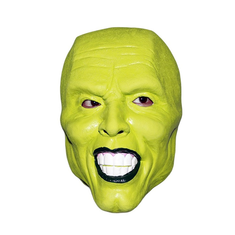 Jim Carey Green Head Mask Halloween Jim Carrey Latex Mask for Costume Party Movie Cosplay Fancy Dress image