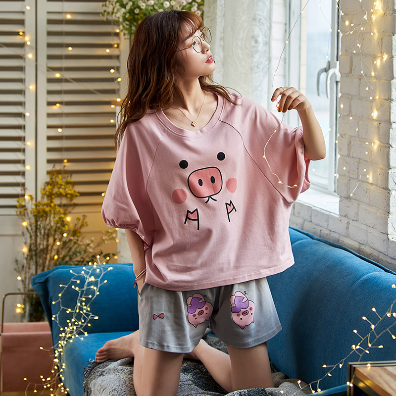 Caiyier Cute Pig Print Pajamas Set Cotton Short Sleeve Sleepwear Cartoon Women O-Neck Home Wear Casual Summer Nightwear M-XXL