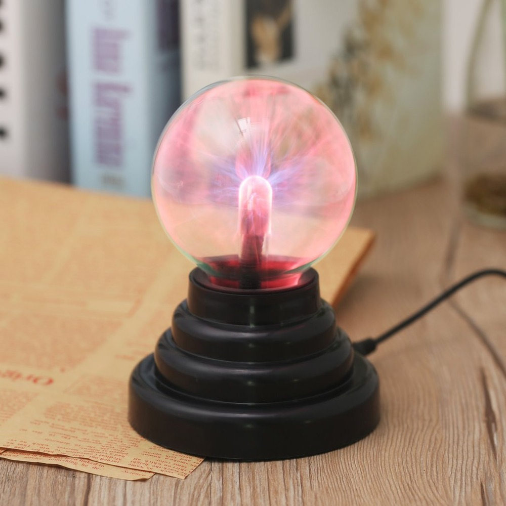 ICOCO 3 Inch USB Plasma Ball Electrostatic Sphere Light Magic Crystal Lamp Ball Desktop Globe Laptop Light Lamp Christmas Party