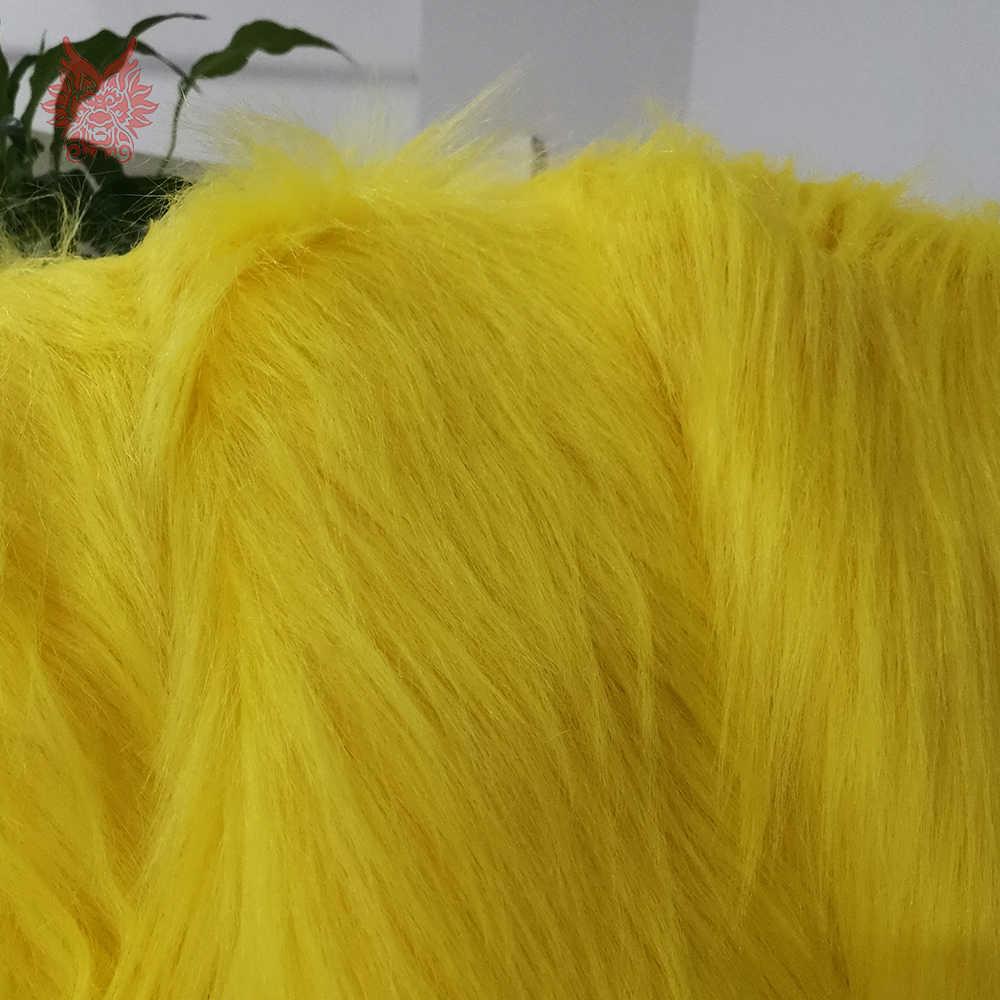 Tela de piel sintética amarilla de pelo largo de 7cm de alto grado para abrigo de invierno, chaleco, cosplay etapa de decoración envío gratis 150*50cm 1 pieza SP2575