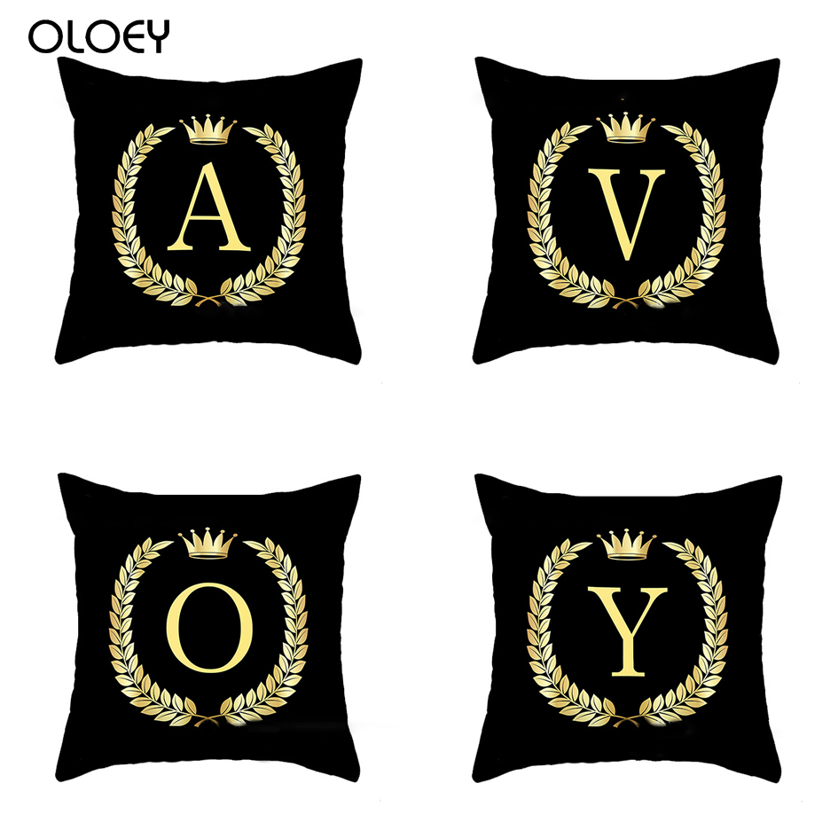 Peach Velvet Polyester Gold English Letter Printing Bay Window Decoration Pillow Cushion Cover Home Hotel Sofa Bed Cushion Cover