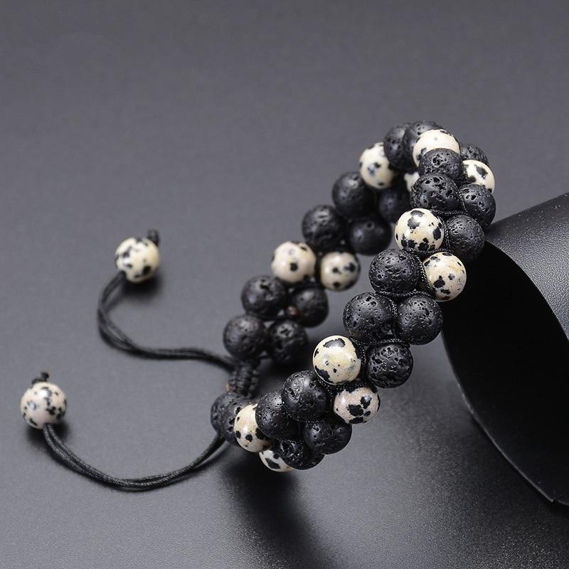 8mm Lava Rock Bead Bracelet for Men Women Adjustable Double Braided Rope Essential Oil Diffuser Bracelet Natural Stone Bracelets
