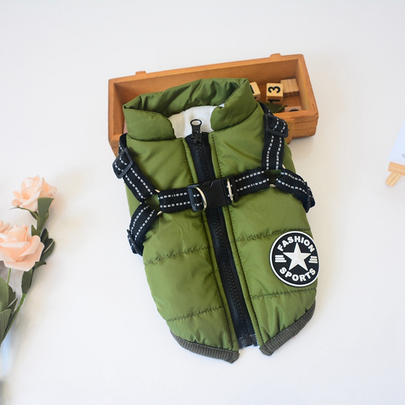 Cotton Dog Jacket in Large Tooth Zipper Design with Harness and Adjustable Chest Strap 2