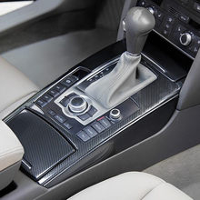 Car Styling Tampa Decoração de Saída de Ar Do Painel de Engrenagem Adesivos Guarnição Para Audi A6 C5 C6 Buraco Da Fechadura de Aço Inoxidável Fibra de Carbono Decalque