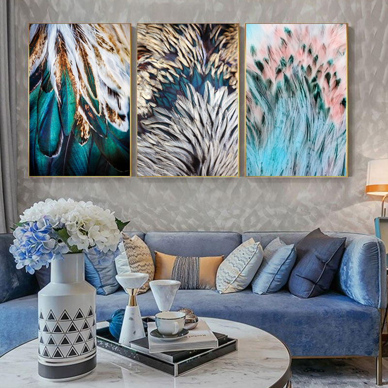 Abstract Feathers Wall Art Fine Art Canvas Prints Luxury Pictures For Living Room Bedroom Modern Fashionable Glam Home Decor