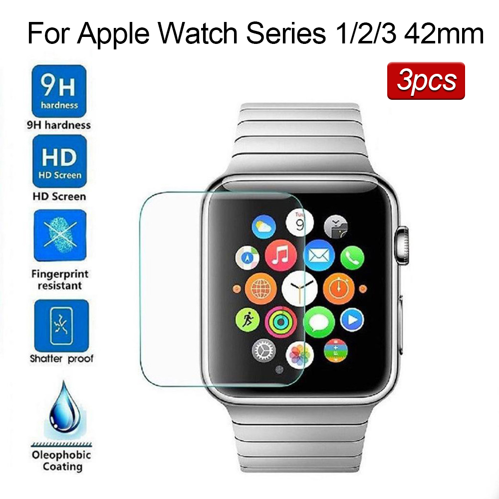 3pcs Tempered Glass For Apple Watch IWatch Series 1 / 2 /3 42mm Screen Protector Film Bubble Free 9h Vidrio Templado Para Reloj