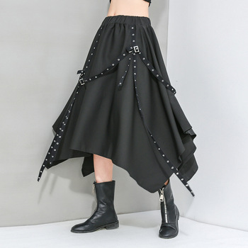 elastic waist scallop hem textured skirt Stylish Irregular Hem Skirt Women Plus Size Gothic Black Cropped Skirts High Elastic Waist Adjustable Metal Rings Ribbons 2020
