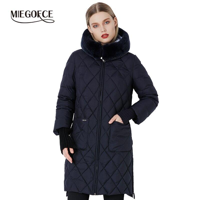 MIEGOFCE 2019 nouvelle Collection hiver femmes veste manteau Original col de fourrure femmes Parkas marque de mode femmes coton rembourré veste