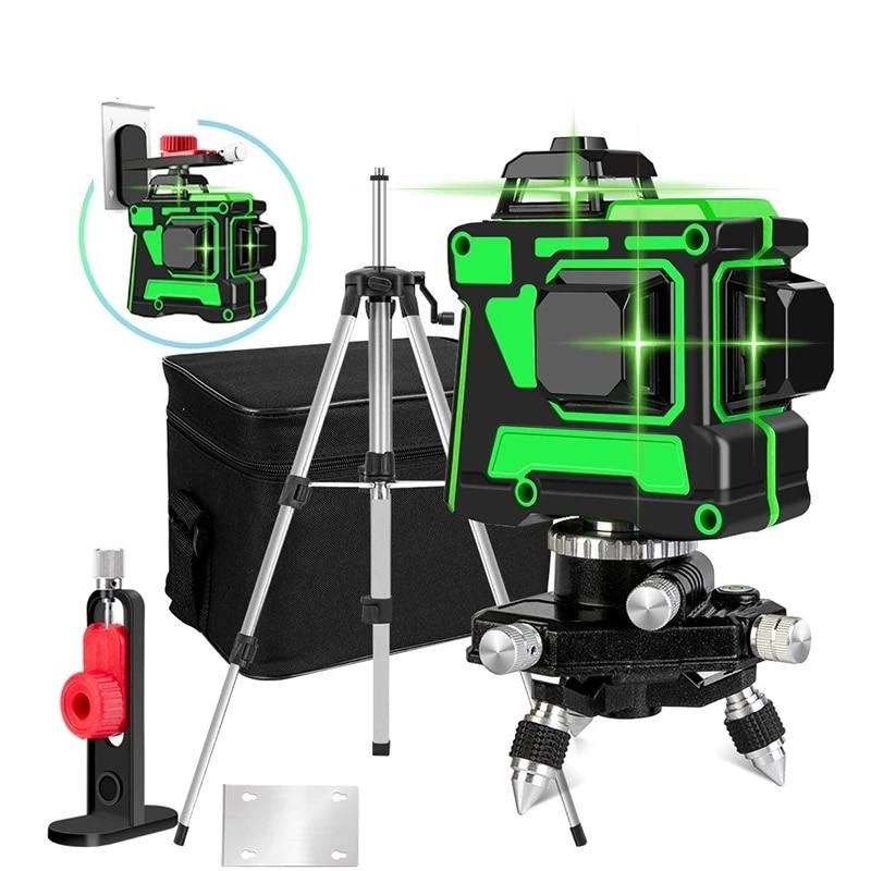 Niveau laser 12 faisceaux 360 degrés à nivellement automatique, alignement 3D, lignes vertes transversales, horizontales et verticales, support trépied et batterie inclus