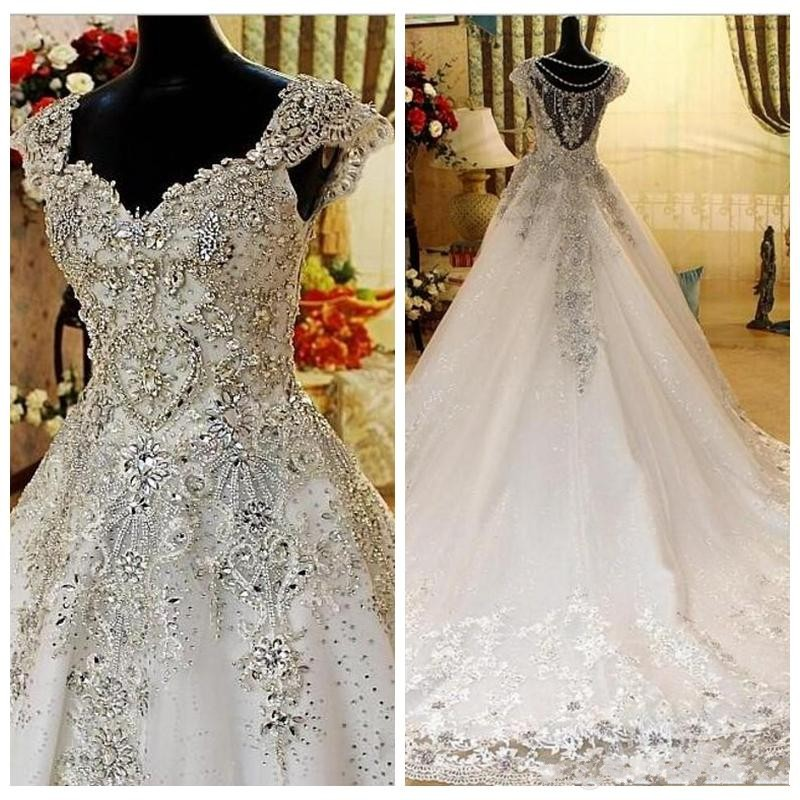 Bling Bling Beads Crystal Wedding Dresses Hot Selling Cap Sleeves Tulle Court Train Bridal Gowns Custom Made Wedding Vestidos