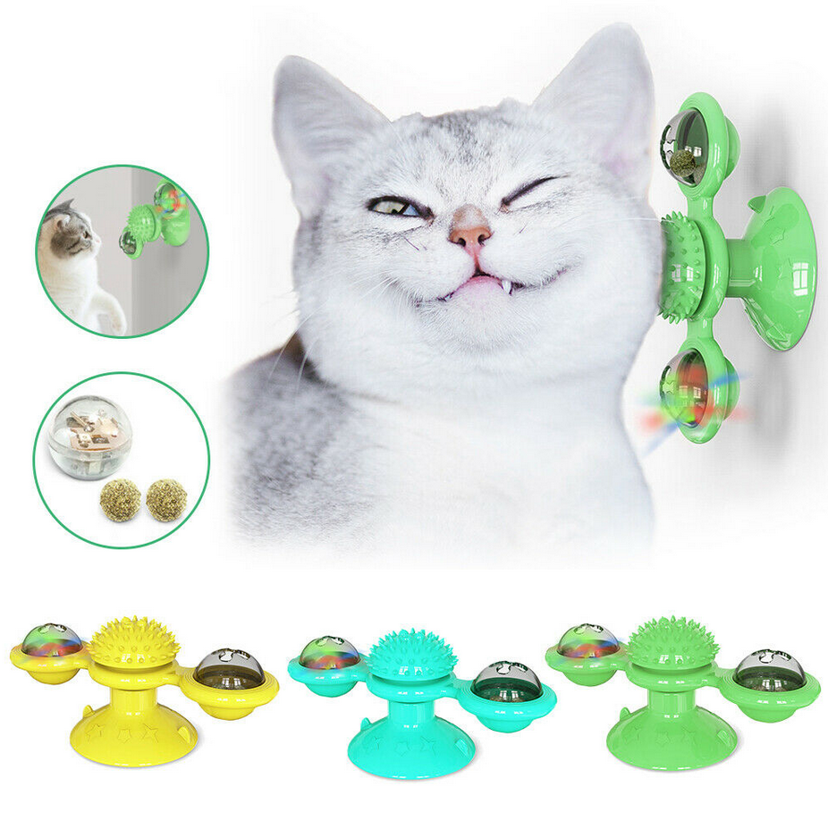 Pet Cat Toys Interactive Puzzle Training Turntable Windmill Ball Whirling Toys For Cat Kitten Play Game Cat Supplies