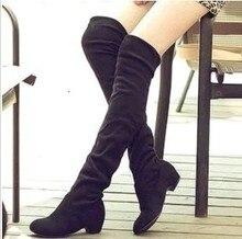 купить 2019 Hot Sale Women PU Leather Knee High Boots Fashion Classic Flat Boots Ladies Autumn Winter Shoes Basic Long Boots по цене 975.45 рублей