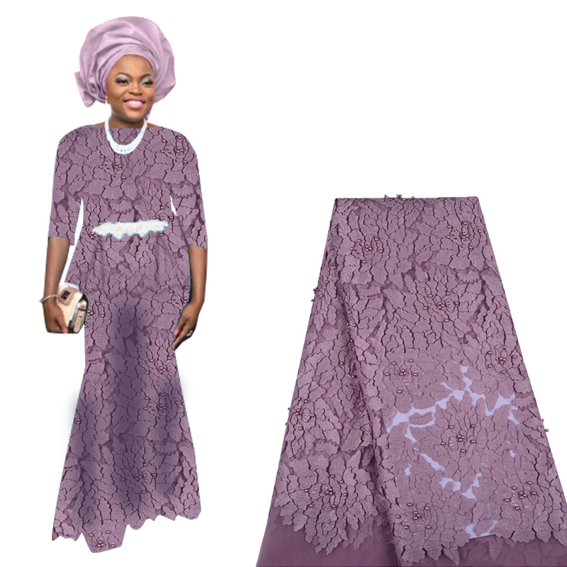 2019 Latest Nigerian French Lace Fabric African Tulle Lace Fabric With Beads High Quality French Net Lace Fabric For Woman Dress