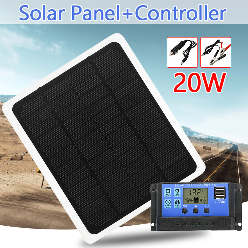 20W 12V Dual Output Solar Panel With Car Charger + 10/20/30/40/50A USB Solar Charger Controller For Outdoor Camping LED Light