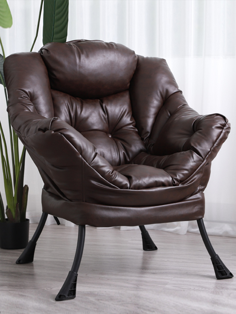 Lazy Chair Modern Simple Single Sofa Chair Bedroom Balcony Leisure Computer Chair European Leather Sofa Cortex image