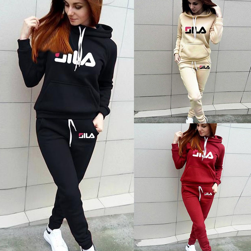 Autumn Winter Women's Set Tracksuit  Warm Hoodied Sweatshirt Pockets Casual Pants Suit Two Piece Set Outfits Sweatsuit