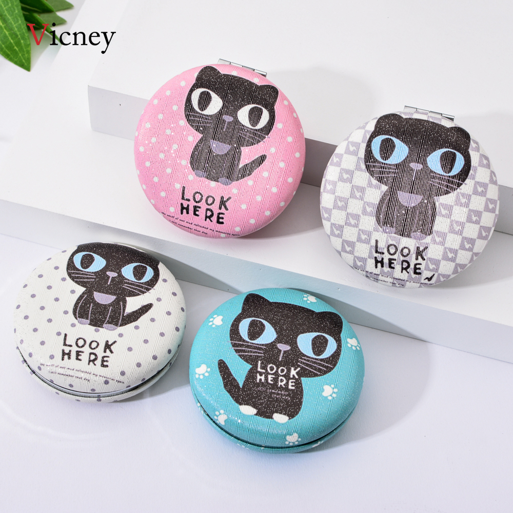 Vicney 2019 New Arrival Girls Women Cute Cat Mirror Folding Make Up Double Side Pocket Student Mini