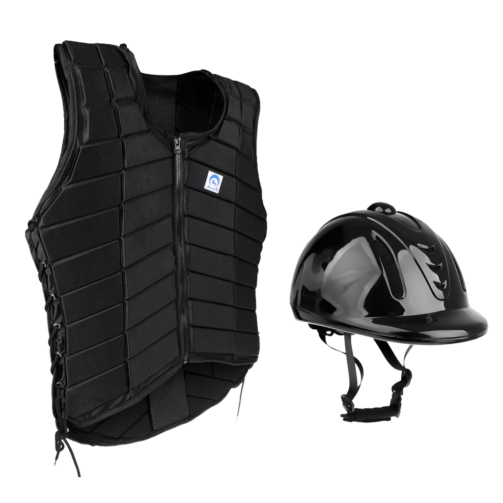 Adult Women Equestrian Horse Riding Vest With Safety Protective Helmet Cap M