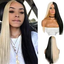 Pelucas de cabello sintético de Mitad negro y medio blanco, 21 pulgadas de largo, para mujeres, eventos de cosplay, Dream ices