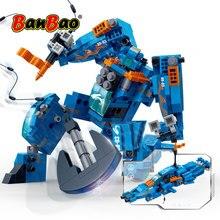BanBao 로봇 변압기 스피드 보트 2 1 빌딩 블록 크리 에이 티브 교육 벽돌 모델 완구 어린이 어린이 선물 6318