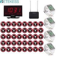 Retekess restaurante pager 40 pçs t117 botão de chamada + 4pcs td108 receptor relógio receptor anfitrião repetidor sinal sem fio sistema chamada