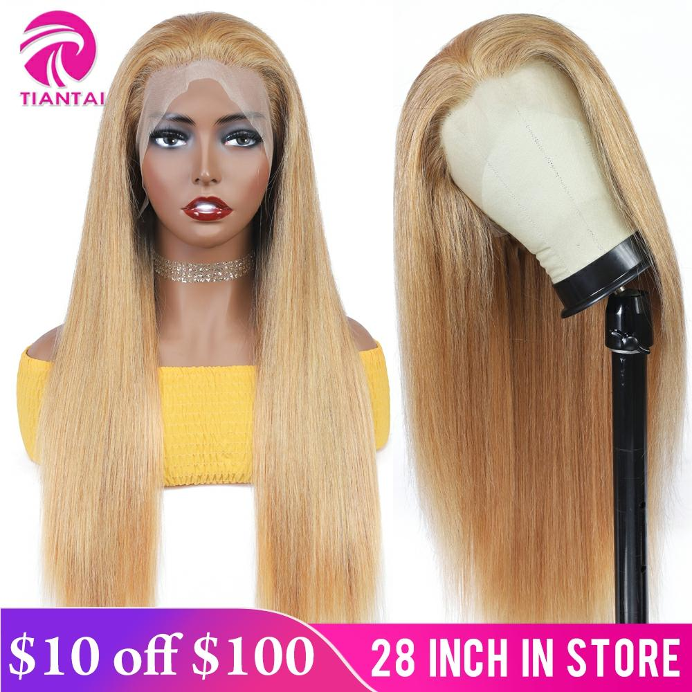 TIANTAI 13x4 Stright Lace Front Wig Ombre Human Hair Wigs Honey Blonde Lace Frontal Wigs Transparent Lace Wig Brazilian Remy