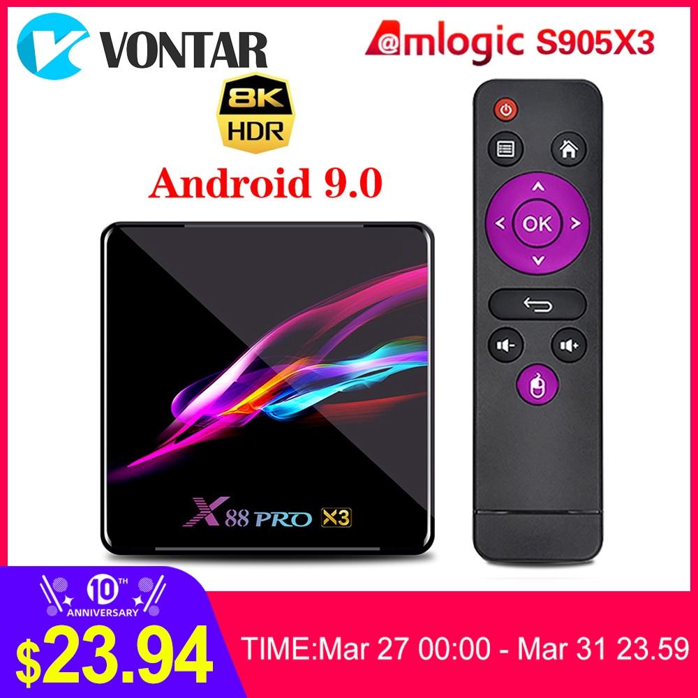 VONTAR X88 PRO X3 TV Box Android 9.0 4GB RAM 64GB 128GB 32GB Amlogic S905X3 Quad-core 1080p  8K Wifi Youtube 2G 16G Set Top Box