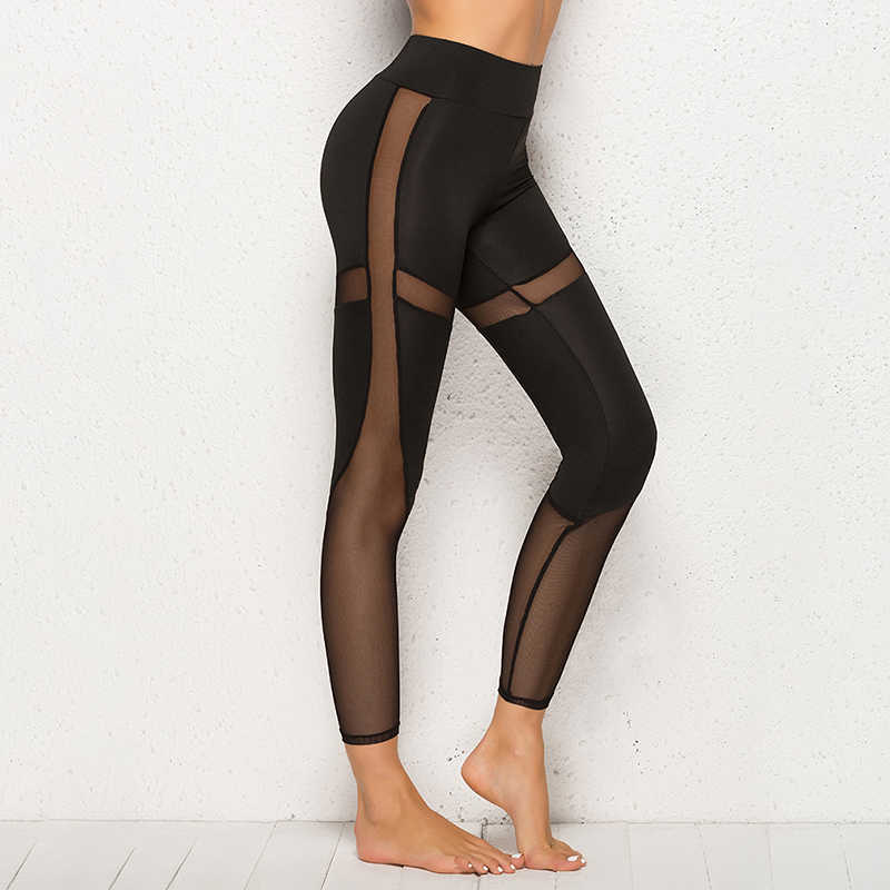 Schwarz Mesh Leggings Frauen Hose Hohe Taille Legging Fitness Push Up Gym Leggings Wandern Jogging Leggins Frauen Hosen Jeggings